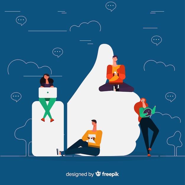 Facebook gosta. adolescentes em mídias sociais. design de personagem. Vetor grátis