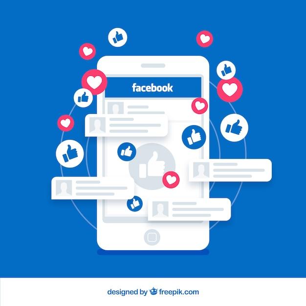 Facebook gosta com dispositivo eletrônico Vetor grátis