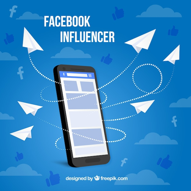Facebook influenciador fundo com decive e emoticons Vetor grátis
