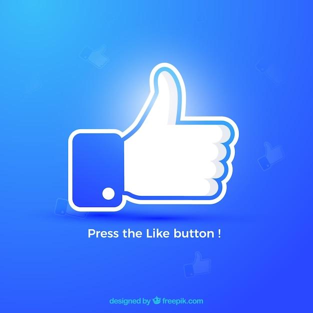 Facebook polegar para cima como fundo em cores degradê Vetor grátis