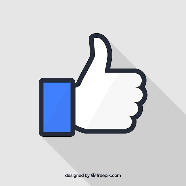 Facebook polegar para cima como plano de fundo em estilo simples Vetor Premium