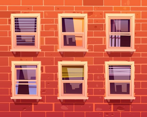Fachada da casa com parede de tijolos e janelas Vetor grátis