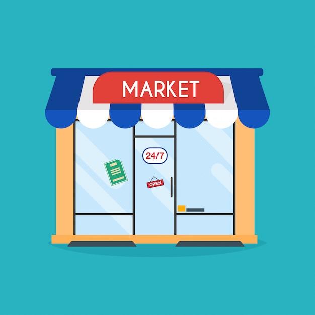 Fachada da loja do mercado. Vetor Premium