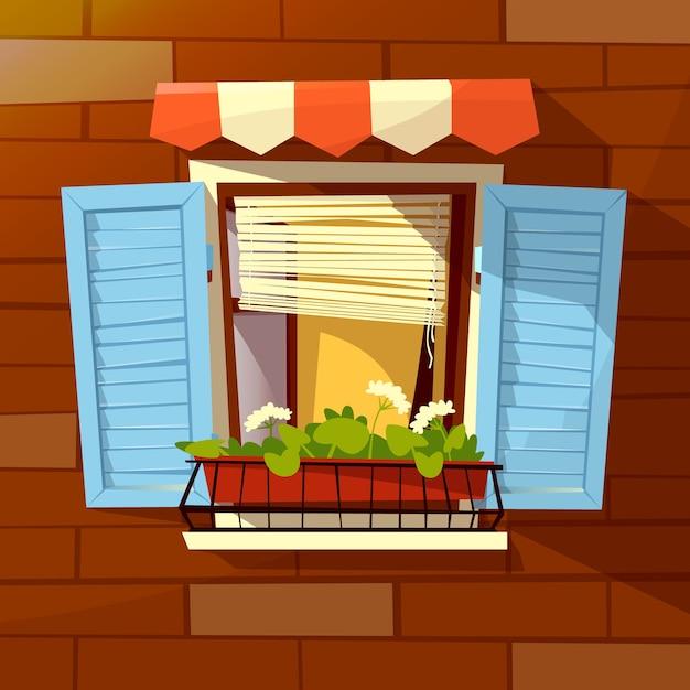 Fachada de casa de janela com persianas de madeira, toldo sunblind e vaso de flores. Vetor grátis