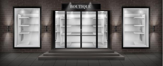 Fachada de loja boutique com tabuleta Vetor grátis