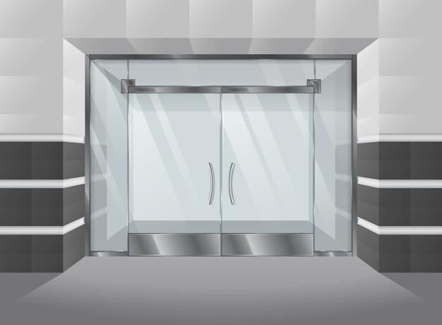 Fachada realística do shopping com portas e janelas de vidro. ilustração vetorial Vetor Premium