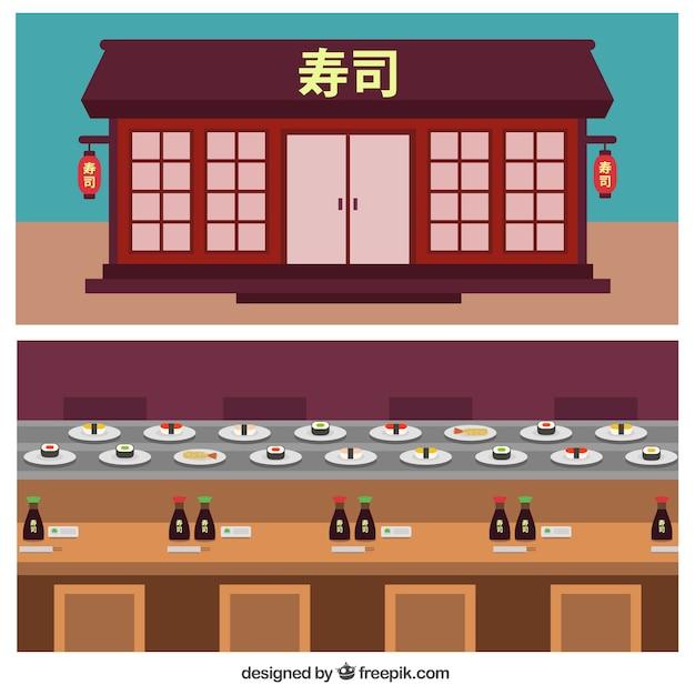 Fachada restaurante chinês em design plano Vetor Premium