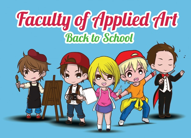 Faculdade de arte aplicada., de volta à escola. Vetor Premium