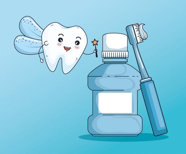 Fada dos dentes com enxaguatório bucal e escova de dentes Vetor grátis