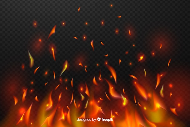 Faíscas de efeito de fogo em fundo transparente Vetor Premium