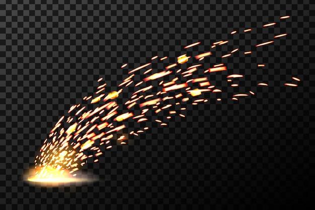 Faíscas de fogo de metal de solda Vetor Premium