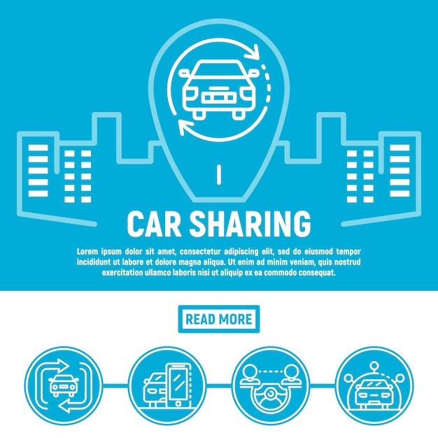 Faixa de compartilhamento de carro da cidade, estilo de estrutura de tópicos Vetor Premium