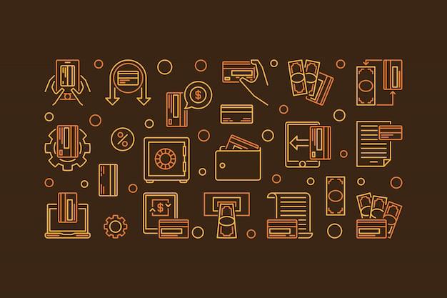 Faixa de linha de pagamento eletrônico. ilustração de epayments bancários Vetor Premium