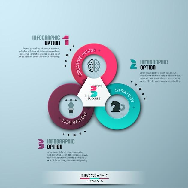 Faixa de opções de estilo de origami de círculo empresarial moderno Vetor Premium