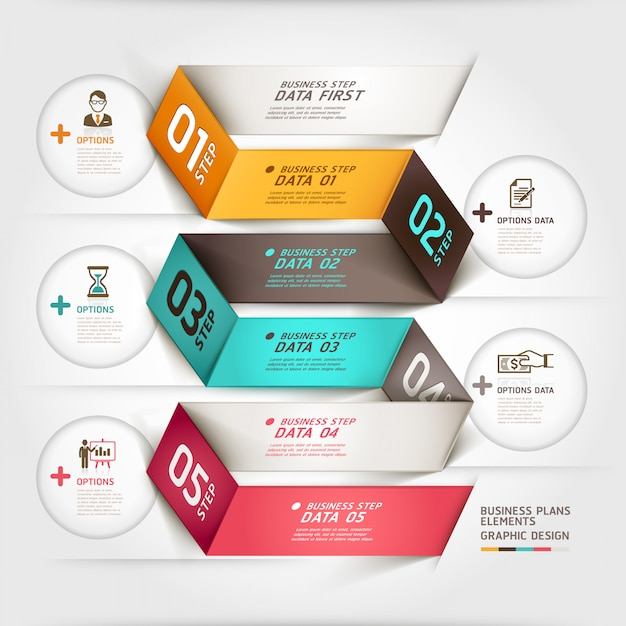 Faixa de opções de estilo de origami de diagrama de negócios modean. Vetor Premium