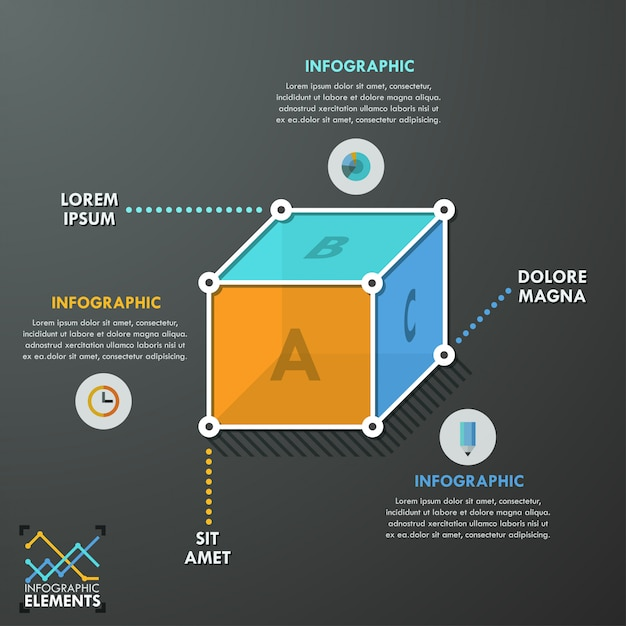 Faixa de opções de infografia moderna 3d Vetor Premium