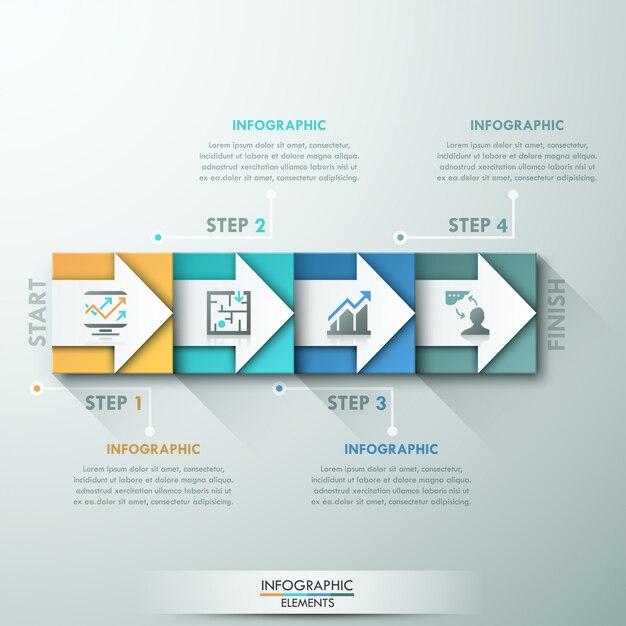 Faixa de opções de infografia moderna com retângulos coloridos Vetor Premium