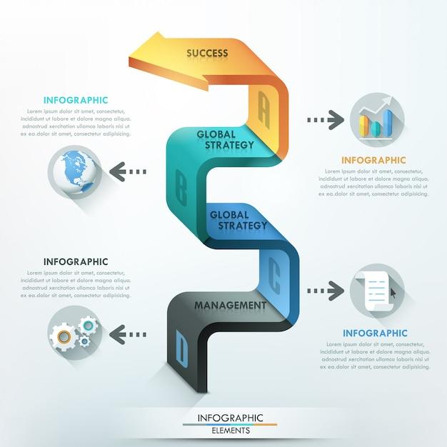 Faixa de opções de infografia moderna com seta 3d Vetor Premium