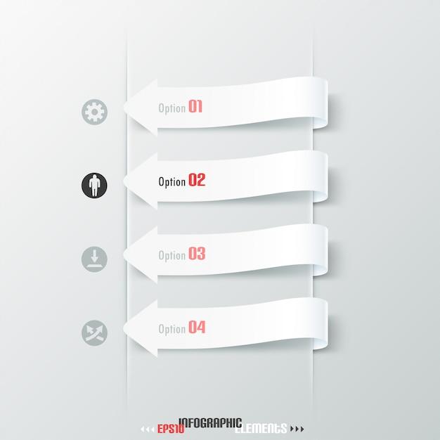 Faixa de opções de infografia moderna com setas brancas Vetor Premium