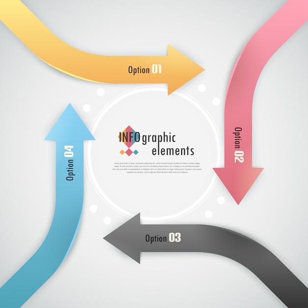 Faixa de opções de infografia moderna com setas Vetor Premium