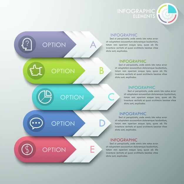 Faixa de opções de infografia moderna Vetor Premium