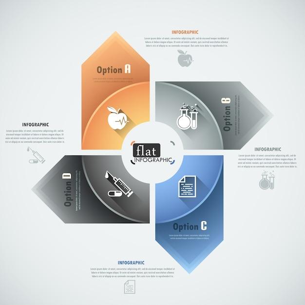 Faixa de opções infográficos plana com setas Vetor Premium