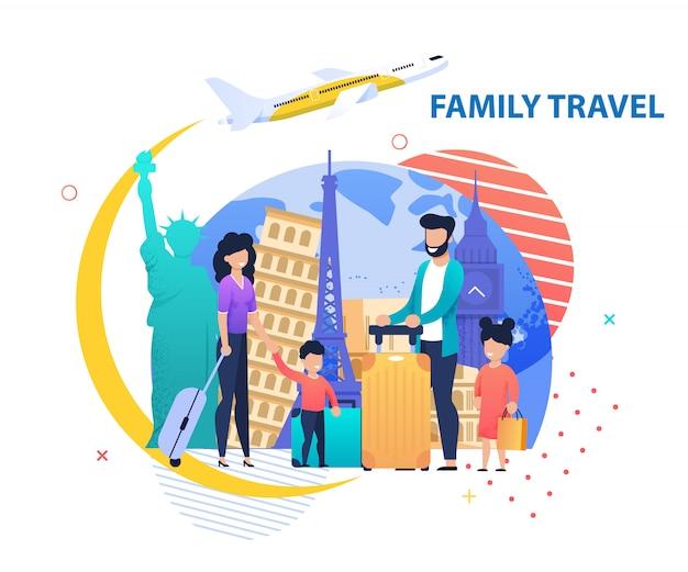 Faixa de promoção de viagem da família para outros países Vetor Premium