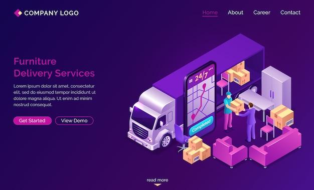 Faixa de serviços on-line de entrega de móveis Vetor grátis