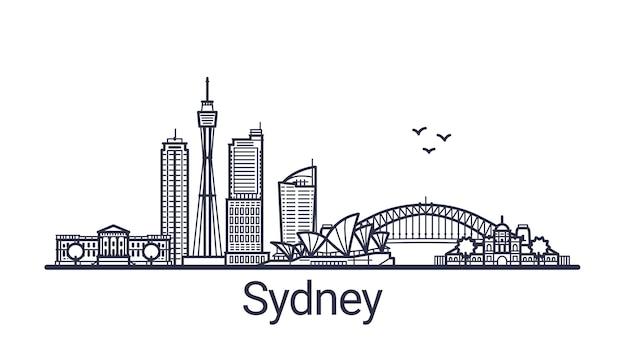 Faixa linear da cidade de sydney desenhada à mão Vetor Premium