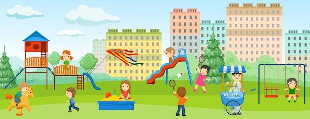 Faixa plana colorida de playground com área de recreação infantil e área verde ao redor Vetor grátis