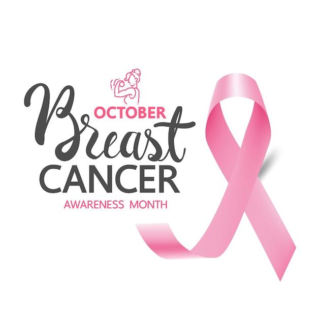 Faixas e faixas de conscientização sobre o câncer de mama, modelo de conscientização sobre o câncer de mama para novas mídias sociais Vetor Premium