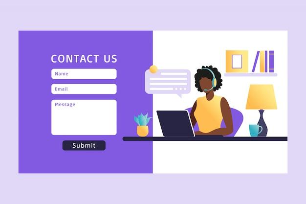 Fale conosco modelo de formulário para a web. agente de serviço ao cliente feminino africano com fone de ouvido falando com o cliente. página de destino. suporte online ao cliente. ilustração. Vetor Premium
