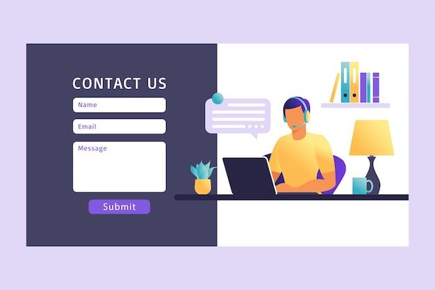 Fale conosco modelo de formulário para a web. agente de serviço ao cliente masculino com fone de ouvido falando com o cliente. página de destino. suporte online ao cliente. ilustração. Vetor Premium
