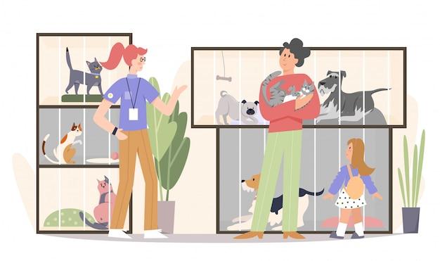Família adotando ilustração plana de gato. pai, garota feliz garoto e trabalhador de loja de animais voluntários personagens de desenhos animados. Vetor Premium