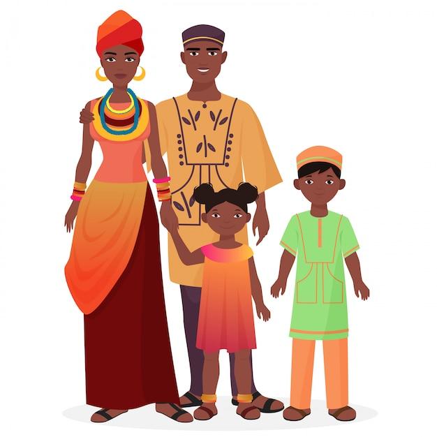 Família africana, em, tradicional, nacional, roupas Vetor Premium
