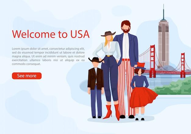 Família americana elegante. cartão de publicidade eua. Vetor Premium