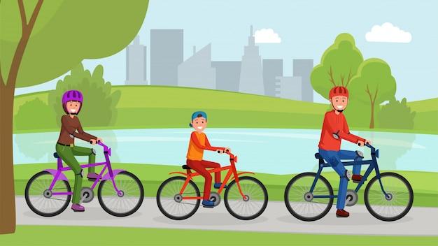 Família andando de bicicleta no cartaz de parque plana Vetor Premium