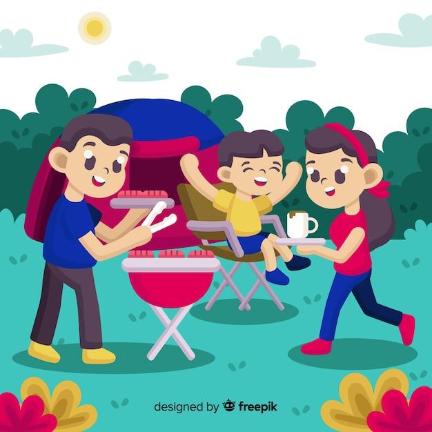 Família, ao ar livre Vetor grátis