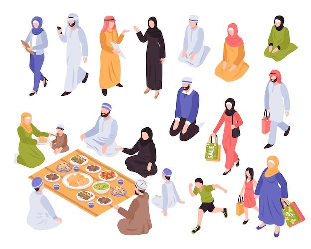 Família árabe com comida tradicional e símbolos comerciais isométrica isolada Vetor grátis