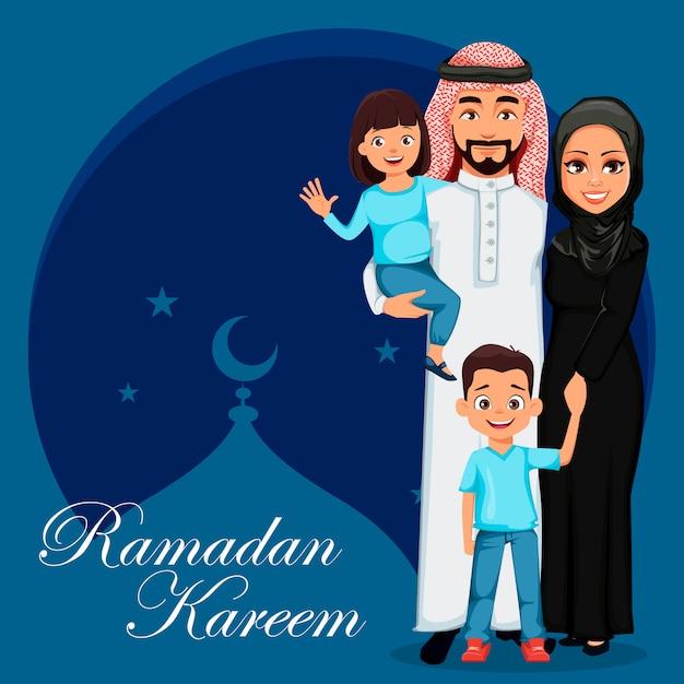 Família árabe feliz. pai, mãe, filho e filha Vetor Premium