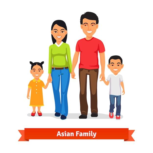 Família asiática caminhando juntos e de mãos dadas Vetor grátis