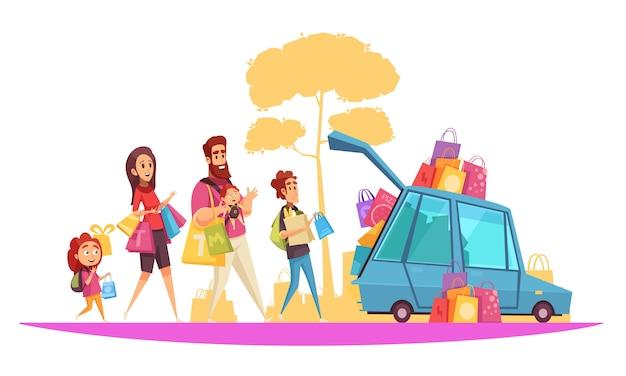 Família ativo férias pais e filhos durante o carregamento do carro por compras cartoon Vetor grátis
