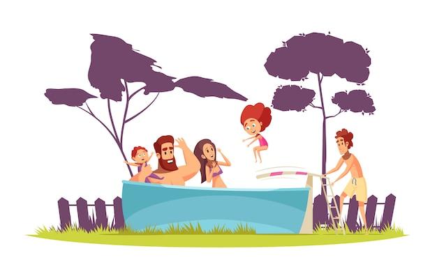 Família ativo verão férias pais e filhos na piscina com desenho de prancha de mergulho Vetor grátis