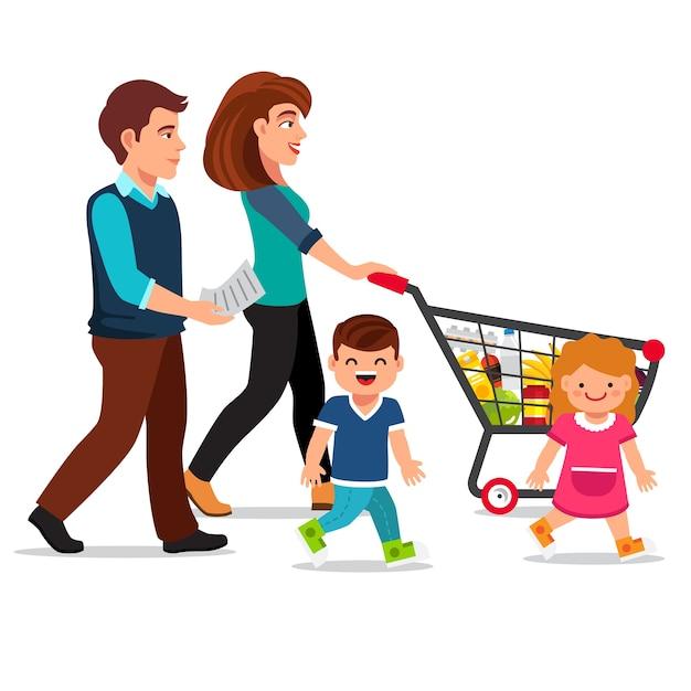 Família caminhando com carrinho de compras Vetor grátis