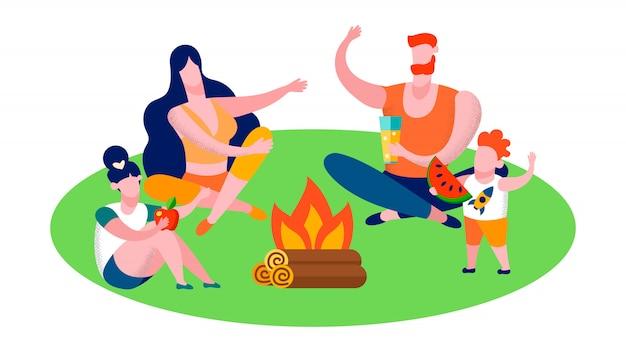 Família camping na floresta e viajar banner plana Vetor Premium