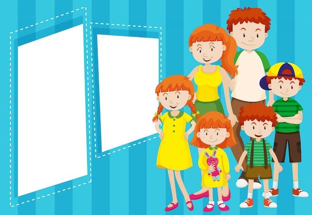 Família, com, azul, quadro Vetor grátis