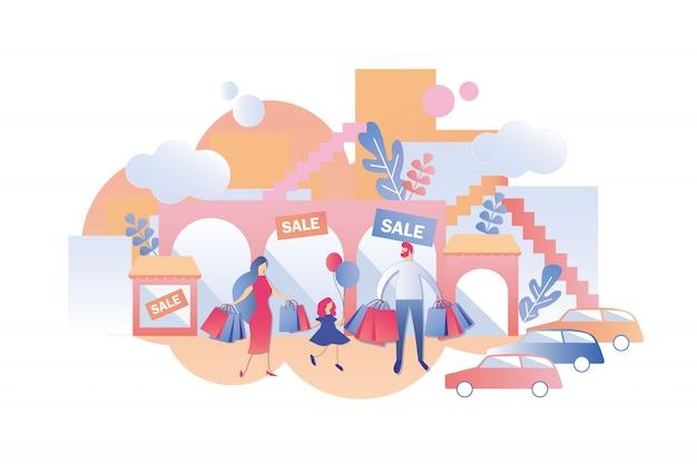 Família com criança comprar coisas em vendas nas lojas. Vetor Premium
