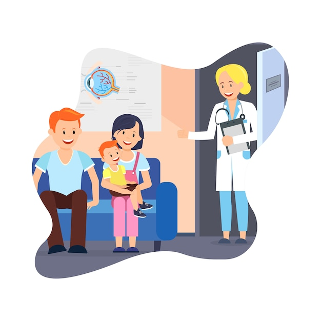 Família com criança no escritório de médicos. cuidados de saúde. Vetor Premium