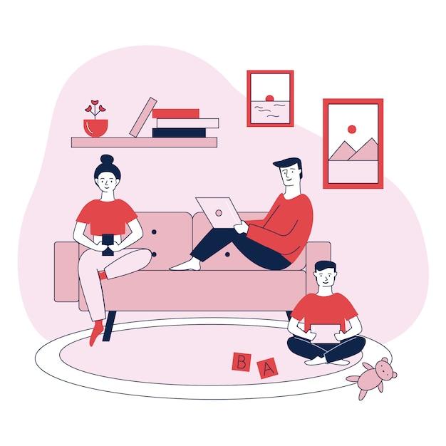 Família com dispositivos digitais ilustração em vetor plana Vetor grátis