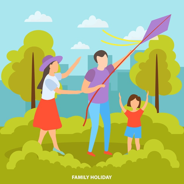 Família com filhos no parque Vetor grátis